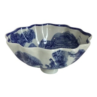 Chinoiserie Blue and White Ruffle Bowl