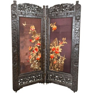 Chinoiserie-Style Embroidered Folding Screen