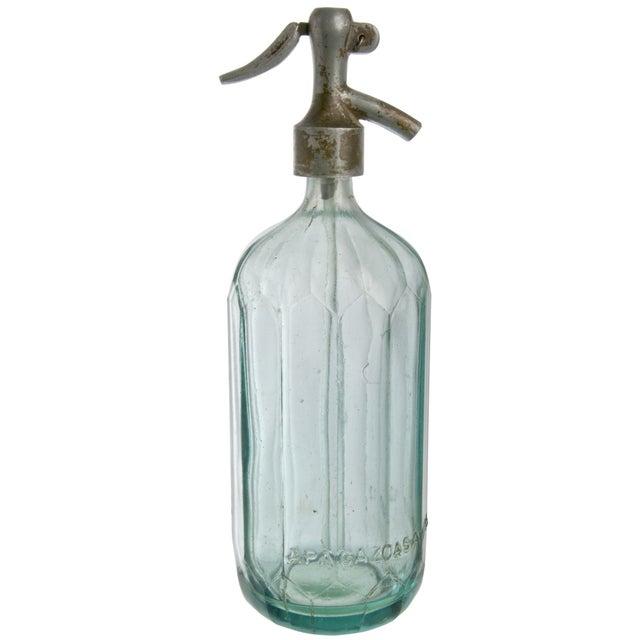 Image of Vintage APA Gazoasa Aqua Glass Seltzer Bottle