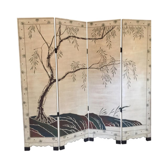 Hand-Painted Chinese Wood Screen - Image 1 of 11