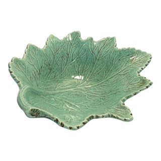 Vintage Green California Craft Leaf Pottery Bowl