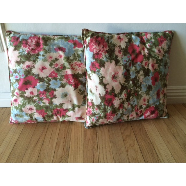 Vintage Floral Pillows - Pair - Image 2 of 3