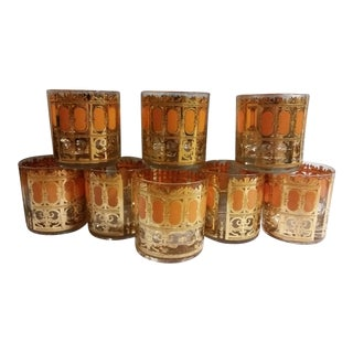 Mid-Century Modern Culver Gold & Orange Enamel Low Ball Glasses - Set of 8