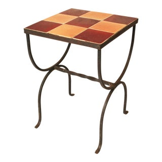 Mid-Century Wrought Iron Tile Top Side Table