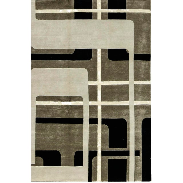 """Contemporary Hand Woven Rug - 6' x 9'3"""" - Image 3 of 3"""
