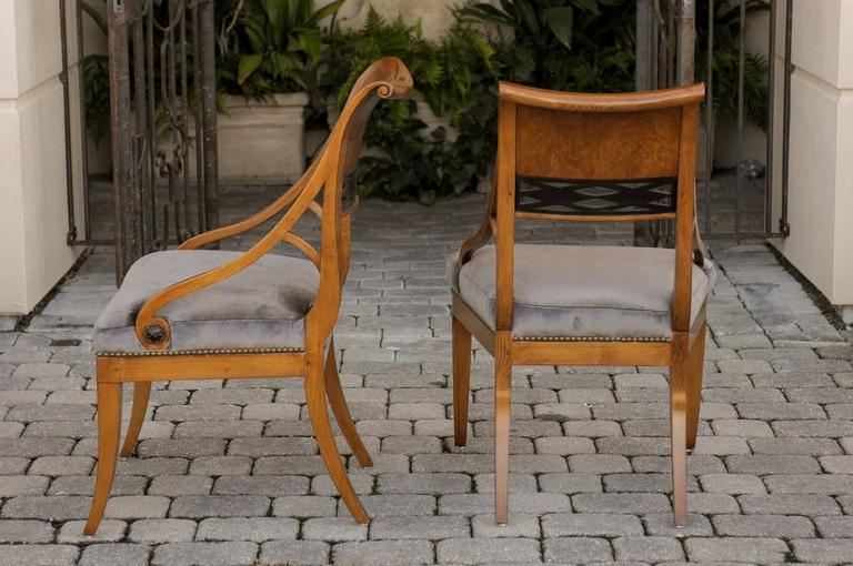 Image Of Pair Of 19th Century Biedermeier Chairs With Grey Silk Velvet  Upholstered Seats