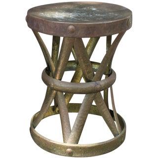 Mid-Century Hammered Brass Drum Table