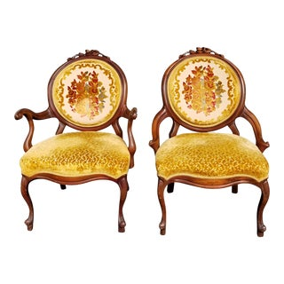 Pair Of Antique Victorian Gold Velvet Slipper Chairs
