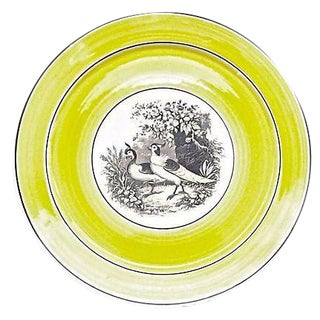 Vintage German Mottahedah Pair of Birds Plate