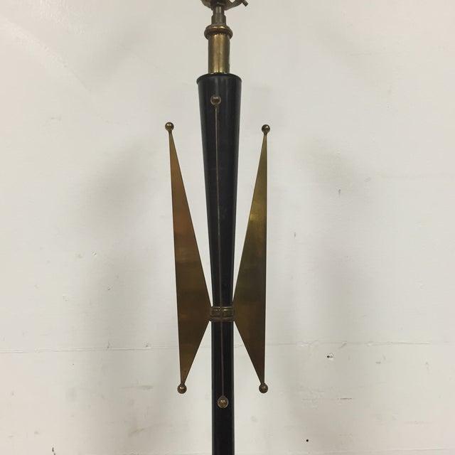 Atomic Brass & Black Floor Lamp - Image 4 of 8