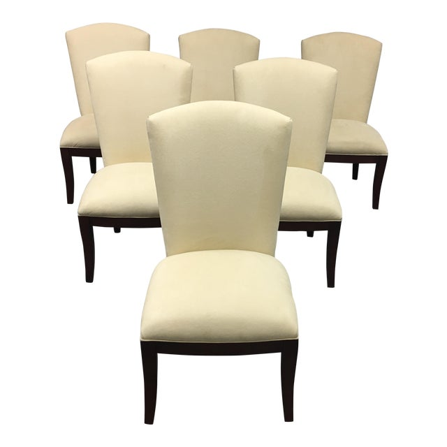 Jessica Charles Cream Sensuede Upholstered Dining Chairs- Set of 6 - Image 1 of 7