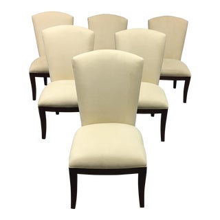 Jessica Charles Cream Sensuede Upholstered Dining Chairs- Set of 6