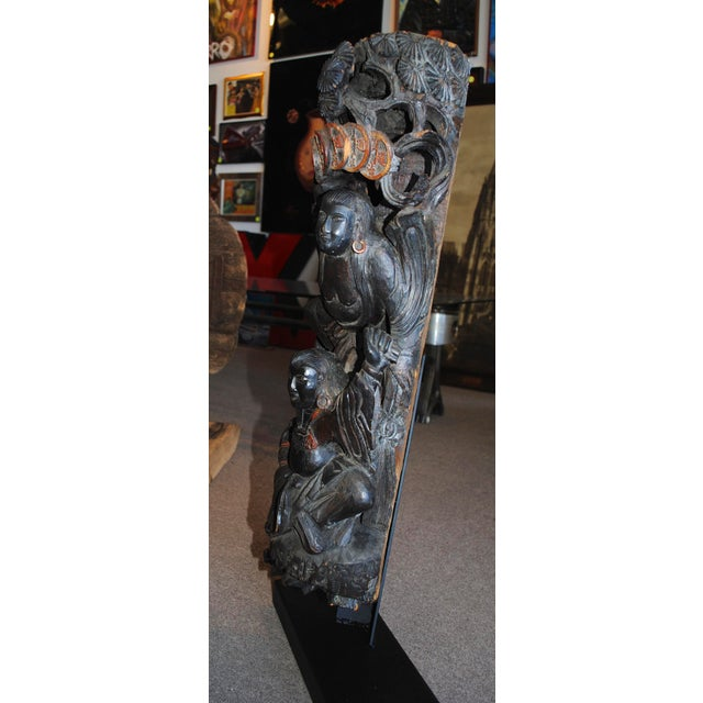 Antique Chinese Carved Wood Guardian Sculpture - Image 6 of 11