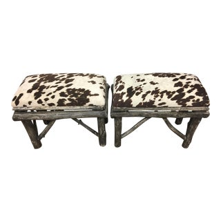 Uttermost Weathered Teak & Hide Benches - A Pair