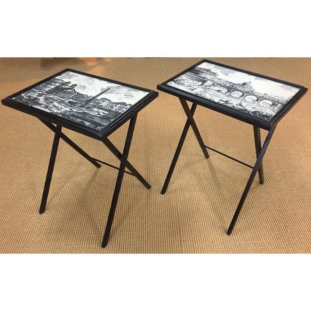 Pair, Mid Century Black Folding X Base tables - Image 3 of 9