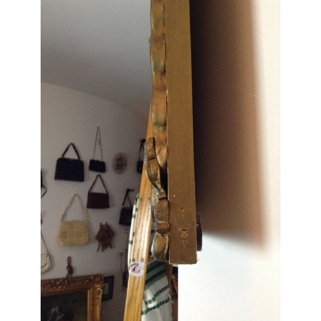 Antique Gilded Crested Wooden Wall Mirror - Image 5 of 8