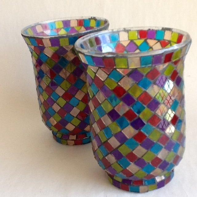 Moroccan Mosaic Glass Candle Votives - A Pair - Image 4 of 8