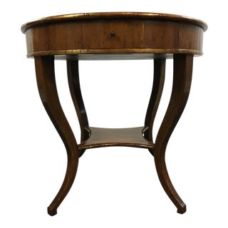 Vintage Carved & Veneered Walnut Single Drawer Round Top End Table