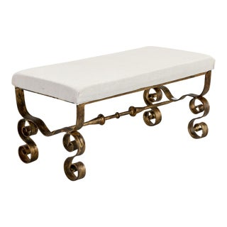 Spanish Mid-Century Upholstered Scrolled Gilt Metal Leg Bench