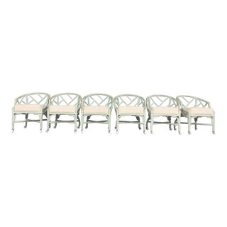 Vintage Ficks Reed Mint Green Rattan Chairs - Set of 6
