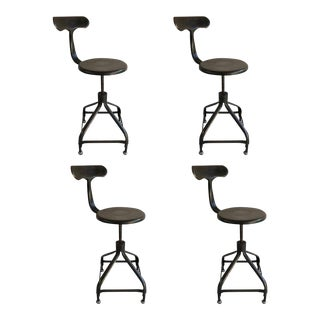 Vintage Nicolle French Industrial Adjustable Stools - Set of 4