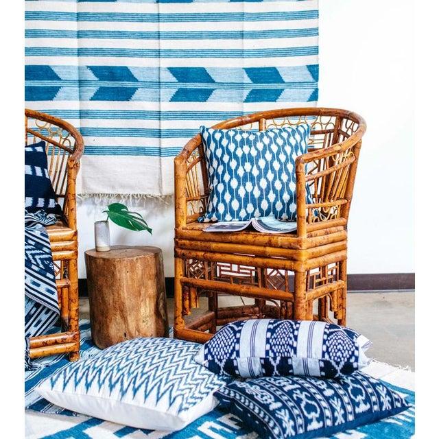 Zigzag Indigo Ikat Handwoven Guatemalan Pillow - Image 4 of 8