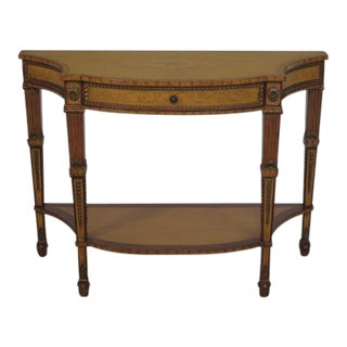 Drexel Adam Style Paint Decorated 1 Drawer Console Hall Table