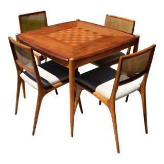 Sergio Rodrigues Attributed Rosewood and Mahogany Reversible Game Table and Chairs