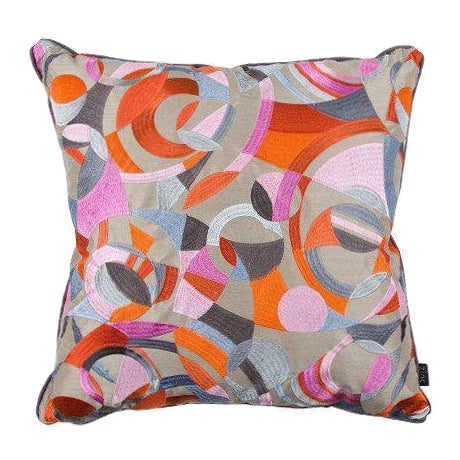 zinc fabric orange gray throw pillows a pair chairish. Black Bedroom Furniture Sets. Home Design Ideas