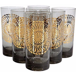 1960's Smoked & Gilt-Accented Glasses - Set of 7