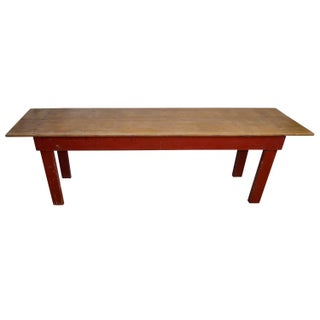 Farm Table with Single Board Top & Red Legs