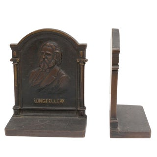 Cast Iron Longfellow Bookends - a Pair
