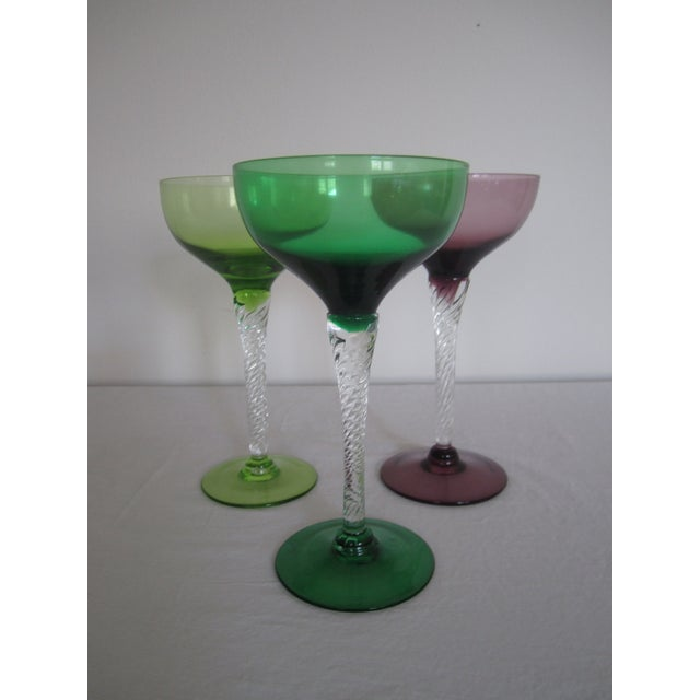 Vintage Blown Glass Champagne Glasses - Set of 3 - Image 6 of 8