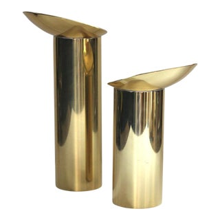 Danish Modern Brass Candlesticks - a Pair