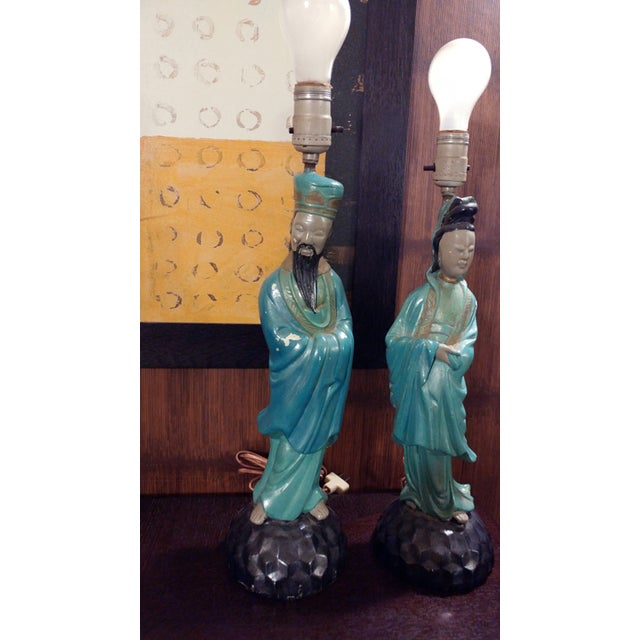 Asian Chalkware Style Lamps - Pair - Image 7 of 8