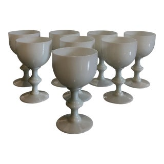 Mid-Century Opaline Milk Glass Cordials - Set of 8