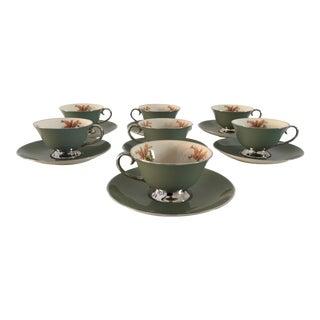 California Flintridge, Floral Print, Silver Green Tea Service - Set of 7