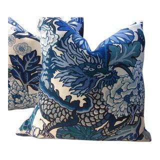 Schumacher Pillows in Chiang Mai Blue & White Linen - a Pair