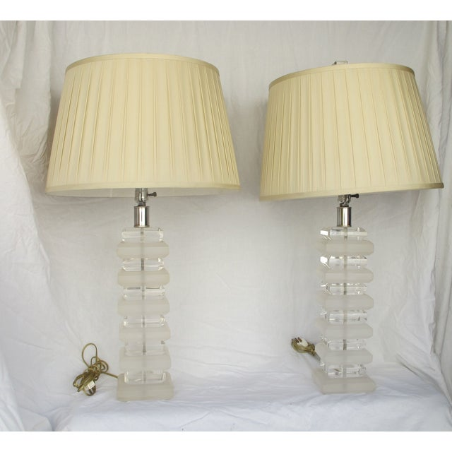 Mid-Century Layered Lucite Table Lamps - A Pair - Image 6 of 6