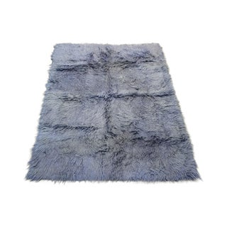 Gray Turkish Tulu Rug - 5′ × 6′8″