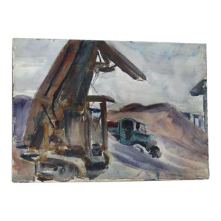 Construction Scene Watercolor Painting