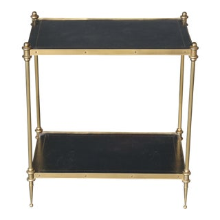 Leather and Brass Side table