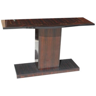 Beautiful French Art Deco Exotic Macassar Ebony Console Table Circa 1940s.