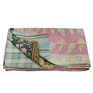 Vintage Pastel Kantha Throw