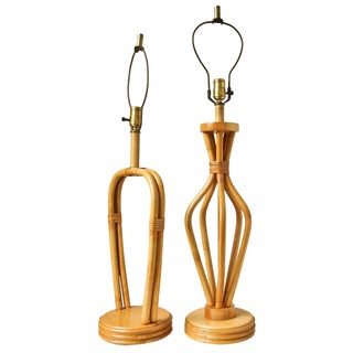 Vintage 1950s Rattan Bamboo Table Lamps - A Pair