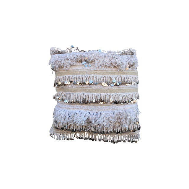 Moroccan Handira Wedding Blanket Throw Pillow - Image 1 of 3