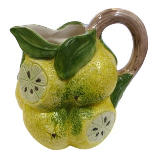 Italian Hand Painted Ceramic Sliced Lemons Pitcher