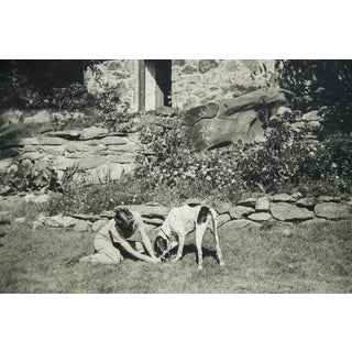 Girl and Dog Antique Photograph