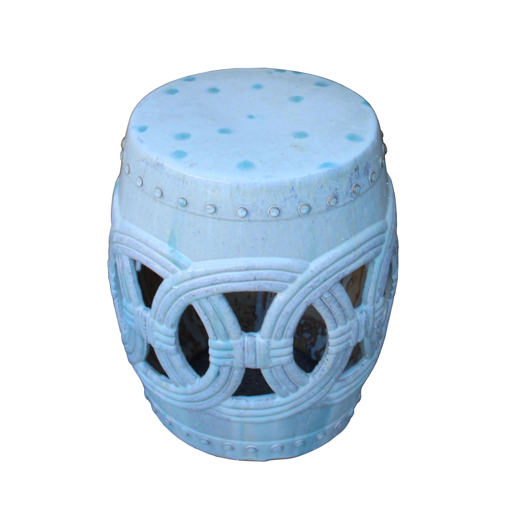 Chinese White Coin Pattern Round Clay Ceramic Garden Stool   Image 3 Of 7
