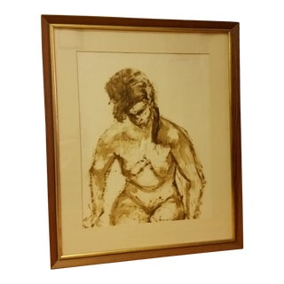 1963 Mid-Century Watercolor Nude Painting